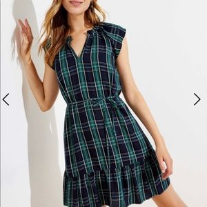 Loft Green & Navy Plaid Ruffle Hem Tie Waist Dress